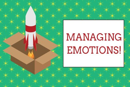 Word writing text Managing Emotions. Business photo showcasing ability be open to feelings and modulate them in oneself Fire launching rocket carton box. Starting up project. Fuel inspiration Stock Photo