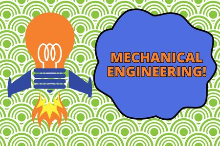 Word writing text Mechanical Engineering. Business photo showcasing deals with Design Manufacture Use of Machines Top view launching bulb rocket fire base. Starting new project. Fuel idea