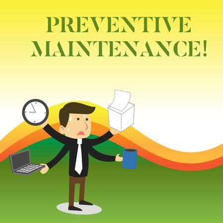 Text sign showing Preventive Maintenance. Business photo showcasing Avoid Breakdown done while machine still working Stressed Out Male Employee Manager Many Armed Multitasking Meet Deadline
