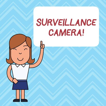 Word writing text Surveillance Camera. Business photo showcasing Closed Circuit Television transmit signal on monitors Woman Standing with Raised Left Index Finger Pointing at Blank Text Box Standard-Bild - 124485485