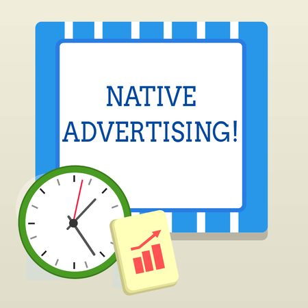 Word writing text Native Advertising. Business photo showcasing Online Paid Ads Match the Form Function of Webpage Layout Wall Clock Notepad with Escalating Bar Graph and Arrow Pointing Up