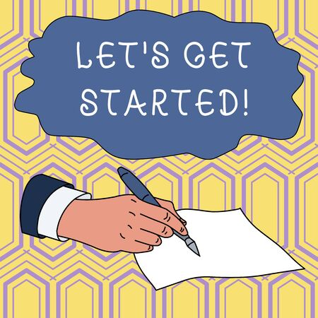 Handwriting text writing Let S Get Started. Conceptual photo encouraging someone to begin doing something Male Hand Formal Suit Holding Ballpoint Pen Blank Piece of Paper Writing