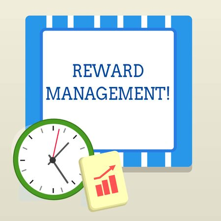 Word writing text Reward Perforanalysisce. Business photo showcasing Appraisal Recognize workers Relative Worth to the company Layout Wall Clock Notepad with Escalating Bar Graph and Arrow Pointing Up