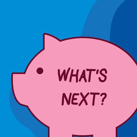 Conceptual hand writing showing What S Next Question. Concept meaning Get information Ask Query Investigate Probes Explore Fat huge pink pig plump like piggy bank with ear and small eye
