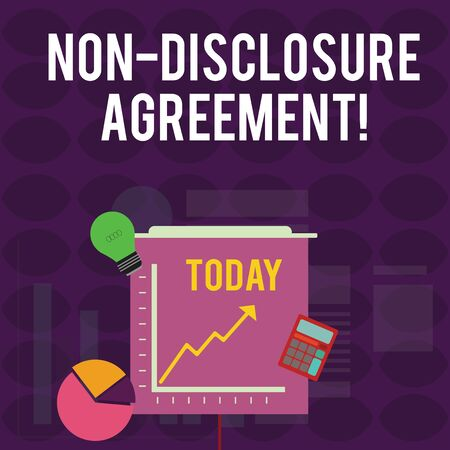Handwriting text writing Non Disclosure Agreement. Conceptual photo Legal Contract Confidential Material or Information Investment Icons of Pie and Line Chart with Arrow Going Up, Bulb, Calculator