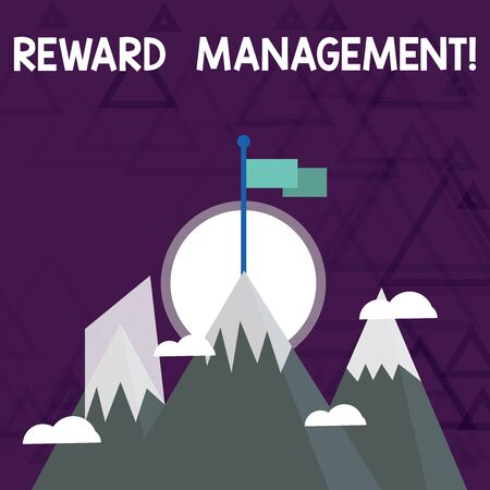 Conceptual hand writing showing Reward Perforanalysisce. Concept meaning Appraisal Recognize workers Relative Worth to the company Three High Mountains with Snow and One has Flag at the Peak