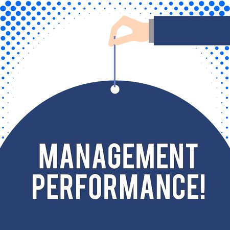 Handwriting text Management Performance. Conceptual photo feedback on Managerial Skills and Competencies Male hand arm needle punching big half blank balloon geometrical background