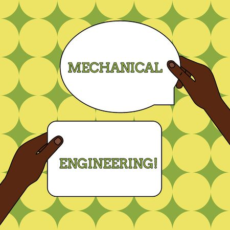 Text sign showing Mechanical Engineering. Business photo text deals with Design Manufacture Use of Machines Two Blank Figured Tablets Signs Held in Hands One Above Other Text Space Imagens - 124486353