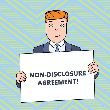 Text sign showing Non Disclosure Agreement. Business photo showcasing Legal Contract Confidential Material or Information Smiling Man Holding Formal Suit Big Blank Poster Board in Front of Himself