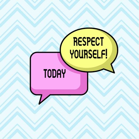 Handwriting text Respect Yourself. Conceptual photo believing that you good and worthy being treated well Pair of Overlapping Blank Speech Bubbles of Oval and Rectangular Shape 写真素材