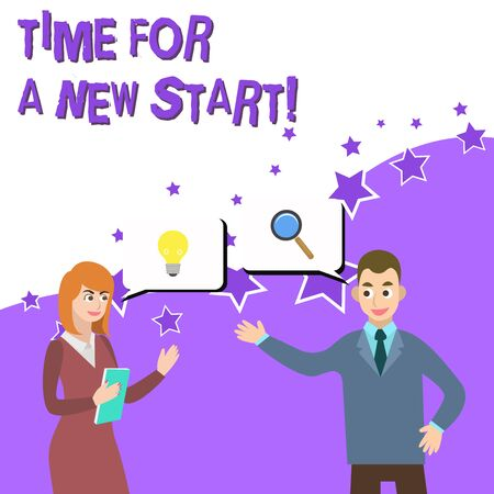 Word writing text Time For A New Start. Business photo showcasing something is supposed to begin right now Fresh job Business Partners Colleagues Jointly Seeking Problem Solution Generate Idea