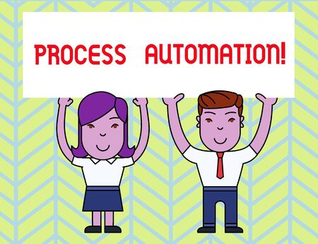Writing note showing Process Automation. Business concept for Transformation Streamlined Robotic To avoid Redundancy Two Smiling People Holding Poster Board Overhead with Hands
