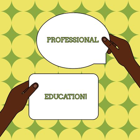 Text sign showing Professional Education. Business photo text Continuing Education Units Specialized Training Two Blank Figured Tablets Signs Held in Hands One Above Other Text Space