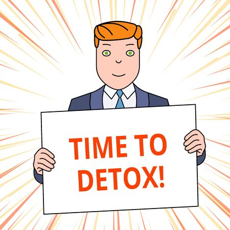 Handwriting text Time To Detox. Conceptual photo when you purify your body of toxins or stop consuming drug Smiling Man Holding Formal Suit Big Blank Poster Board in Front of Himself