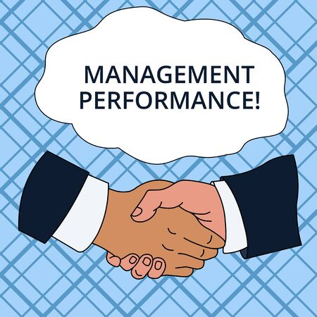 Writing note showing Management Perforanalysisce. Business concept for feedback on Managerial Skills and Competencies Hand Shake Multiracial Male Colleagues Formal Shirt Suit