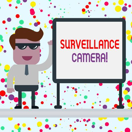 Conceptual hand writing showing Surveillance Camera. Concept meaning Closed Circuit Television transmit signal on monitors Office Worker Sunglass Blank Whiteboard Meeting Presentation