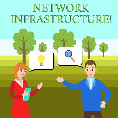 Word writing text Network Infrastructure. Business photo showcasing Hardware and Software resources In and Out Connection Business Partners Colleagues Jointly Seeking Problem Solution Generate Idea