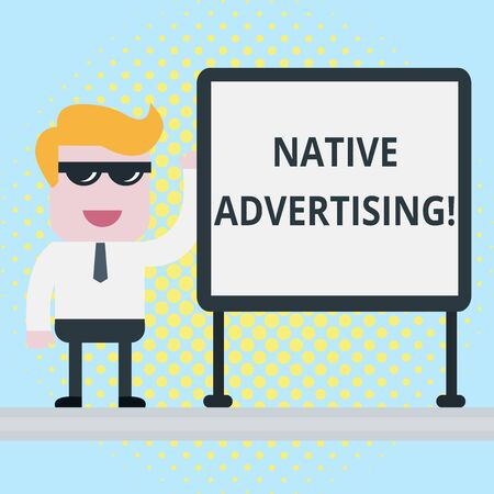 Text sign showing Native Advertising. Business photo showcasing Online Paid Ads Match the Form Function of Webpage Businessman Office Worker Sunglasses Blank Whiteboard Meeting Presentation Stock Photo