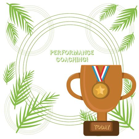 Conceptual hand writing showing Performance Coaching. Concept meaning Facilitate the Development Point out the Good and Bad Trophy Cup on Pedestal with Plaque Medal with Striped Ribbon