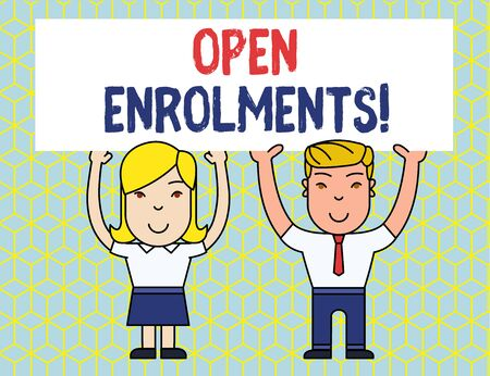 Handwriting text Open Enrolments. Conceptual photo when employees may make changes to elected fringe benefit Two Smiling People Holding Big Blank Poster Board Overhead with Both Hands