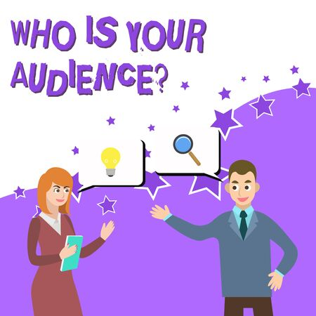 Word writing text Who Is Your Audience Question. Business photo showcasing who is watching or listening to it Business Partners Colleagues Jointly Seeking Problem Solution Generate Idea