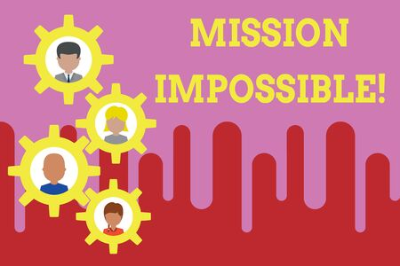 Conceptual hand writing showing Mission Impossible. Concept meaning Difficult Dangerous Assignment Isolated Unimaginable Task Gearshaped picture frame family ornament Whole Family photo