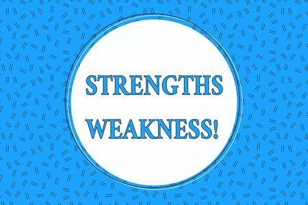 Word writing text Strengths Weakness. Business photo showcasing Opportunity and Threat Analysis Positive and Negative Empty Round Circular Copy Space Text Balloon against Dashed Background