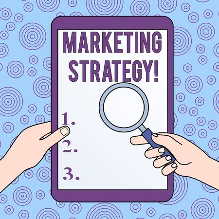 Conceptual hand writing showing Marketing Strategy. Concept meaning Scheme on How to Lay out Products Services Business Hands Holding Magnifying Glass Against Switched Off Tablet Banco de Imagens