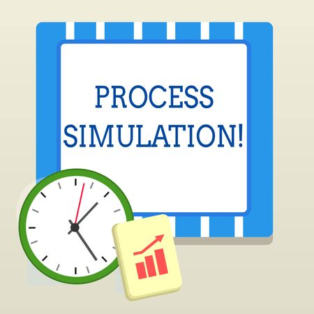Word writing text Process Simulation. Business photo showcasing Technical Representation Fabricated Study of a system Layout Wall Clock Notepad with Escalating Bar Graph and Arrow Pointing Up