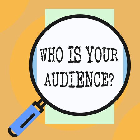 Conceptual hand writing showing Who Is Your Audience Question. Concept meaning who is watching or listening to it Big magnifier glass looking towards vertical rectangle Stok Fotoğraf