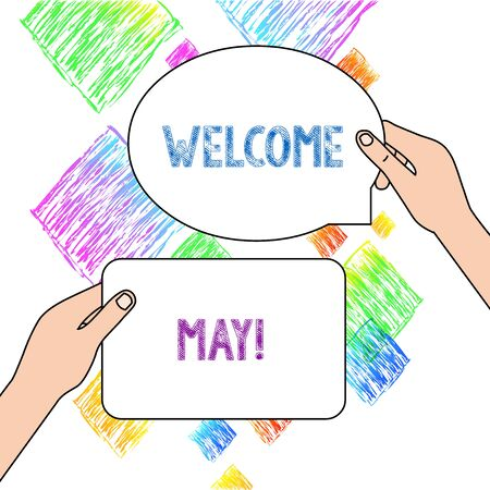 Text sign showing Welcome May. Business photo text welcoming fifth month of year usually considered summer Two Blank Figured Tablets Signs Held in Hands One Above Other Text Space