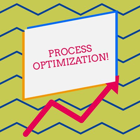 Word writing text Process Optimization. Business photo showcasing Improve Organizations Efficiency Maximize Throughput Irregular edging arrow line on the bottom of parallelogram blank papers 스톡 콘텐츠