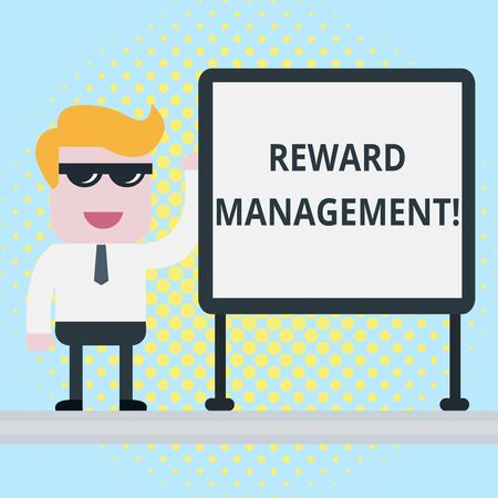 Text sign showing Reward Performance. Business photo showcasing Appraisal Recognize workers Relative Worth to the company Businessman Office Worker Sunglasses Blank Whiteboard Meeting Presentation