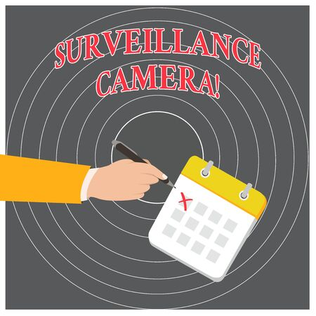 Conceptual hand writing showing Surveillance Camera. Concept meaning Closed Circuit Television transmit signal on monitors Formal Suit Crosses Off One Day Calendar Red Ink Ballpoint Pen Standard-Bild - 124490968