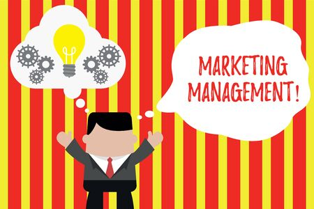 Writing note showing Marketing Management. Business concept for Develop Advertise Promote a new Product or Service Man hands up imaginary bubble light bulb working together
