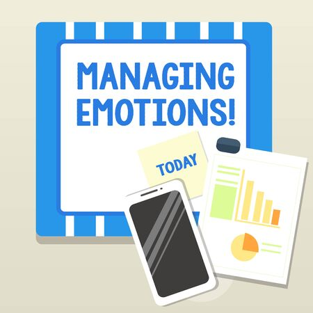 Word writing text Managing Emotions. Business photo showcasing ability be open to feelings and modulate them in oneself Layout Smartphone Off Sticky Notes Clipboard with Pie Chart and Bar Graph