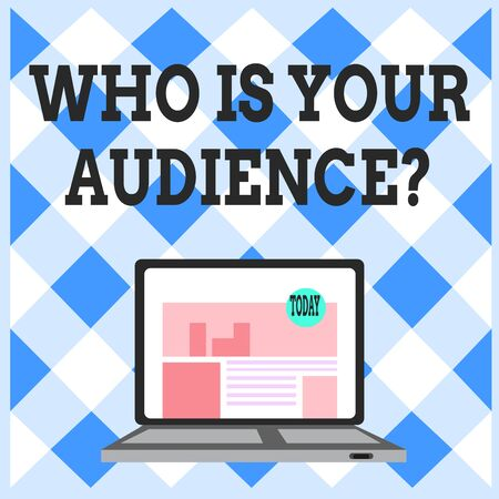 Word writing text Who Is Your Audience Question. Business photo showcasing who is watching or listening to it Open Modern Laptop Switched On with Website Homepage on Screen Web Search Stok Fotoğraf