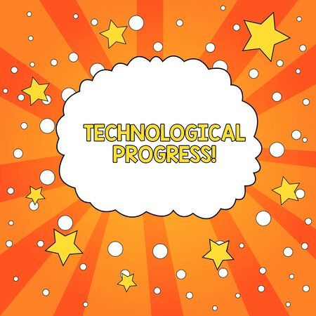 Word writing text Technological Progress. Business photo showcasing overall Process of Invention Innovation Diffusion Blank Speech Bubble Cloud Orange Tone Sunburst Background Stars Circles