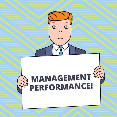 Text sign showing Management Perforanalysisce. Business photo showcasing feedback on Managerial Skills and Competencies Smiling Man Holding Formal Suit Big Blank Poster Board in Front of Himself