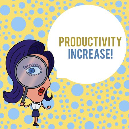 Word writing text Productivity Increase. Business photo showcasing get more things done Output per unit of Product Input Woman Looking Trough Magnifying Glass Big Eye Blank Round Speech Bubble