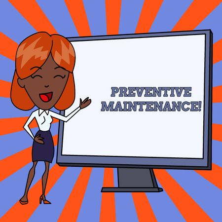 Handwriting text Preventive Maintenance. Conceptual photo Avoid Breakdown done while machine still working White Female in Standing Pointing Blank Screen Whiteboard Presentation 写真素材