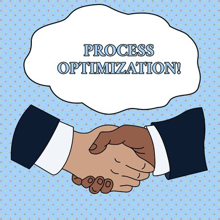 Word writing text Process Optimization. Business photo showcasing Improve Organizations Efficiency Maximize Throughput Hand Shake Multiracial Male Business Partners Colleagues Formal Shirt Suit