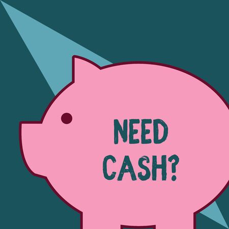 Word writing text Need Cash Question. Business photo showcasing asking someone if you need extra money or dont Fat huge pink pig plump like piggy bank with sharp ear and small round eye