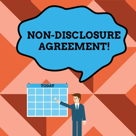 Conceptual hand writing showing Non Disclosure Agreement. Concept meaning Legal Contract Confidential Material or Information Businessman Smiling and Pointing Calendar with Star on Wall