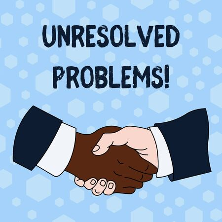 Word writing text Unresolved Problems. Business photo showcasing those Queries no one can answer Unanswerable Questions Hand Shake Multiracial Male Business Partners Colleagues Formal Shirt Suit