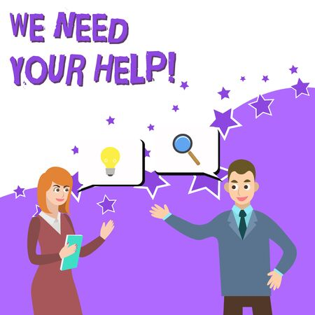 Word writing text We Need Your Help. Business photo showcasing asking someone to stand with you against difficulty Business Partners Colleagues Jointly Seeking Problem Solution Generate Idea Stock Photo
