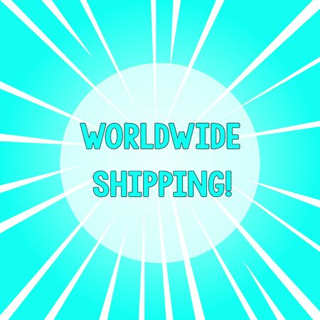 Text sign showing Worldwide Shipping. Business photo text Sea Freight Delivery of Goods International Shipment Sunburst Explosion Different Size White Beams Halftone Center Perspective