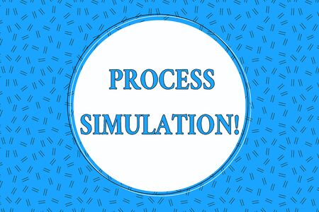 Word writing text Process Simulation. Business photo showcasing Technical Representation Fabricated Study of a system Empty Round Circular Copy Space Text Balloon against Dashed Background