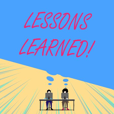 Conceptual hand writing showing Lessons Learned. Concept meaning experiences distilled project that should actively taken Two men sitting behind desk each one laptop thought bubble