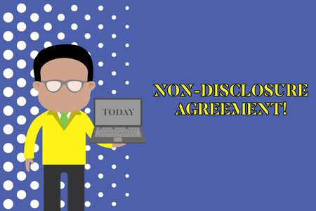 Writing note showing Non Disclosure Agreement. Business concept for Legal Contract Confidential Material or Information Standing man in suit wearing eyeglasses holding open laptop photo Art Stock fotó